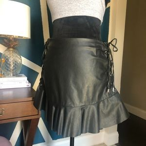 Zara black leather skirt